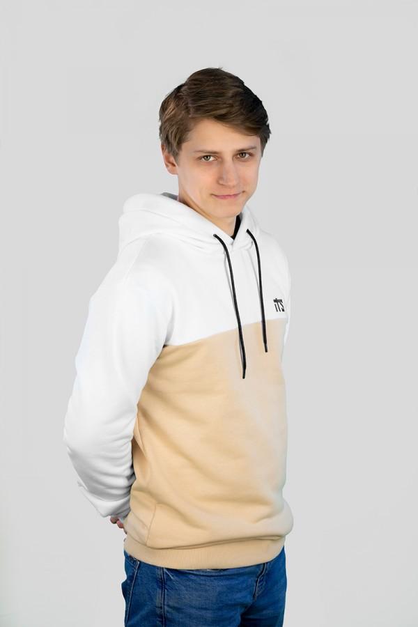 Худи #7, белый-бежевый